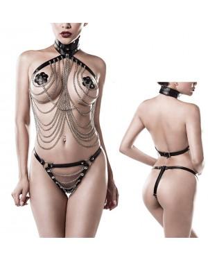 Erotično perilo, komplet 3-delni Grey Velvet Otilia, črn