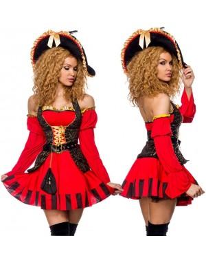 Kostum piratka Spanish Pirat, rdeč