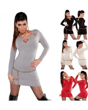 Obleka kratka pletena, tunika Cammie, več barv