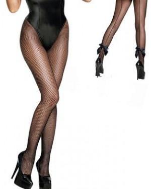 Nogavice hlačne mrežaste črne s črto in pentljo